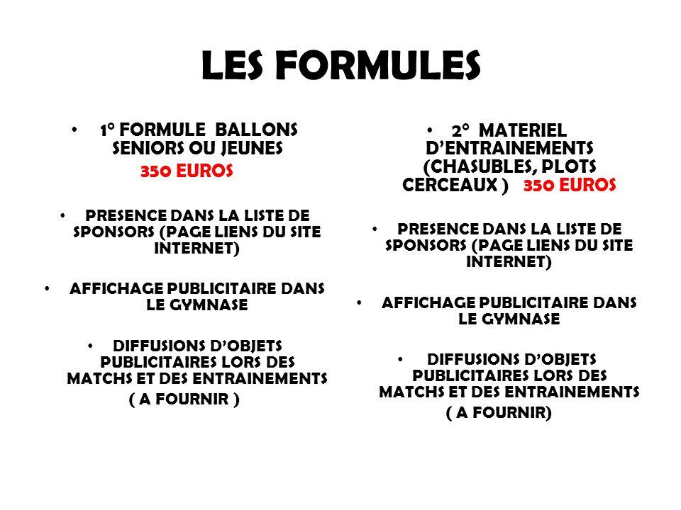 LES FORMULES 1° FORMULE BALLONS SENIORS OU JEUNES 350 EUROS