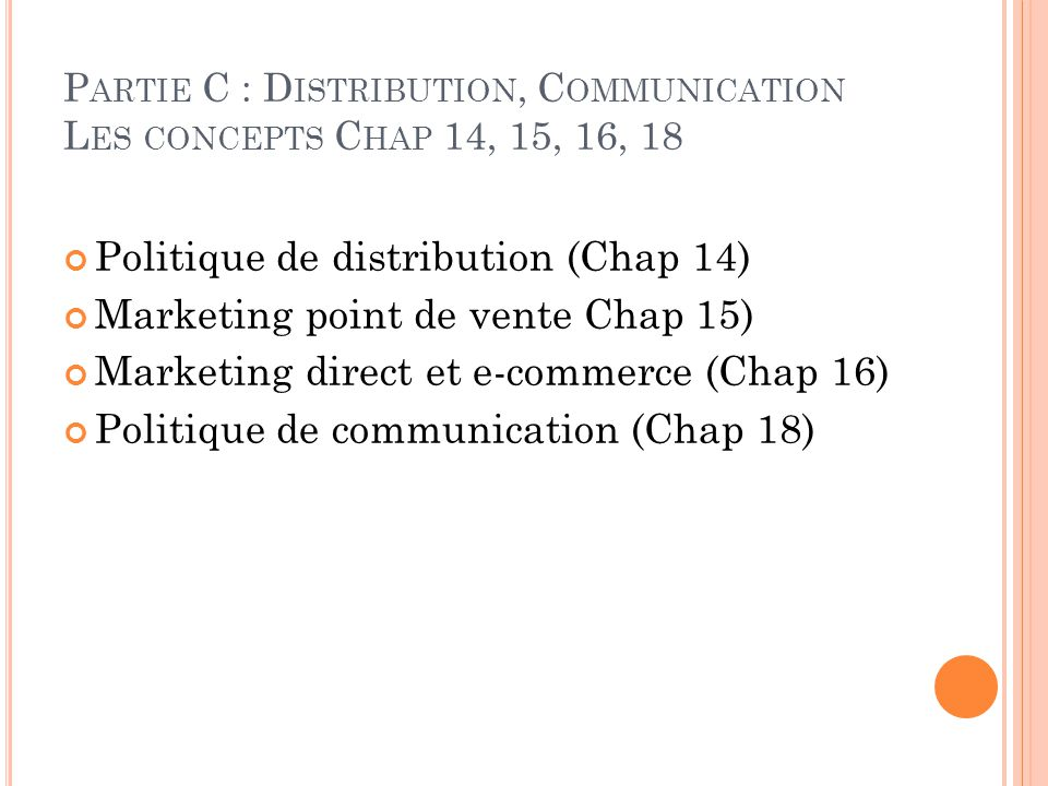 Politique de distribution (Chap 14) Marketing point de vente Chap 15)