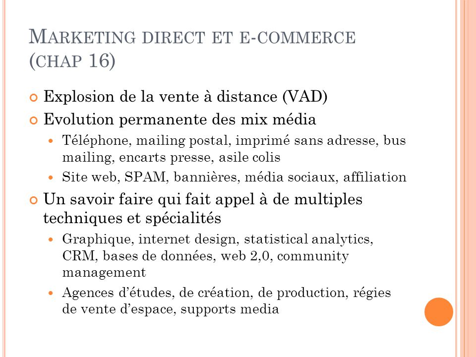 Marketing direct et e-commerce (chap 16)