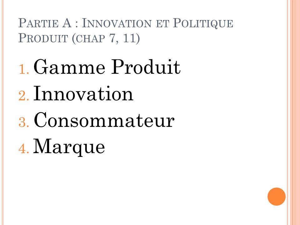 Partie A : Innovation et Politique Produit (chap 7, 11)