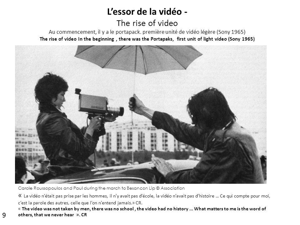 L'essor de la vidéo - The rise of video Au commencement, il y a le portapack. première unité de vidéo légère (Sony 1965) The rise of video In the beginning , there was the Portapaks, first unit of light video (Sony 1965)