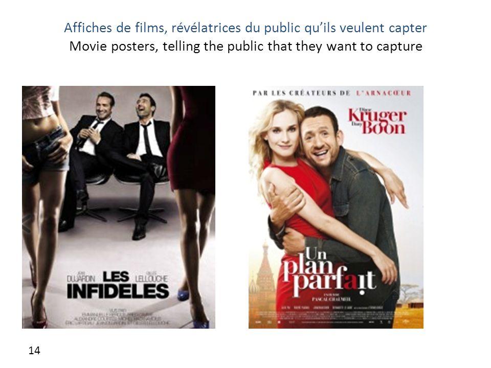 Affiches de films, révélatrices du public qu'ils veulent capter Movie posters, telling the public that they want to capture