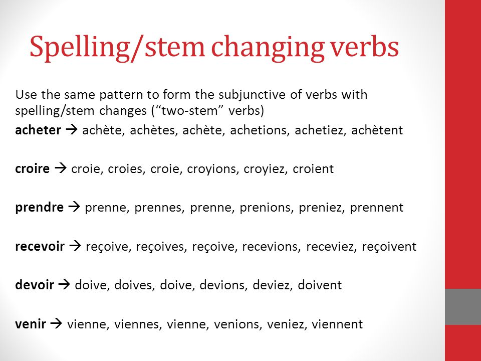 Spelling/stem changing verbs