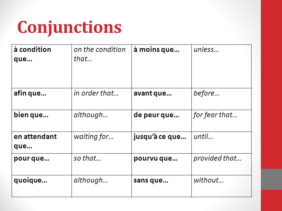 Conjunctions à condition que… on the condition that… à moins que…
