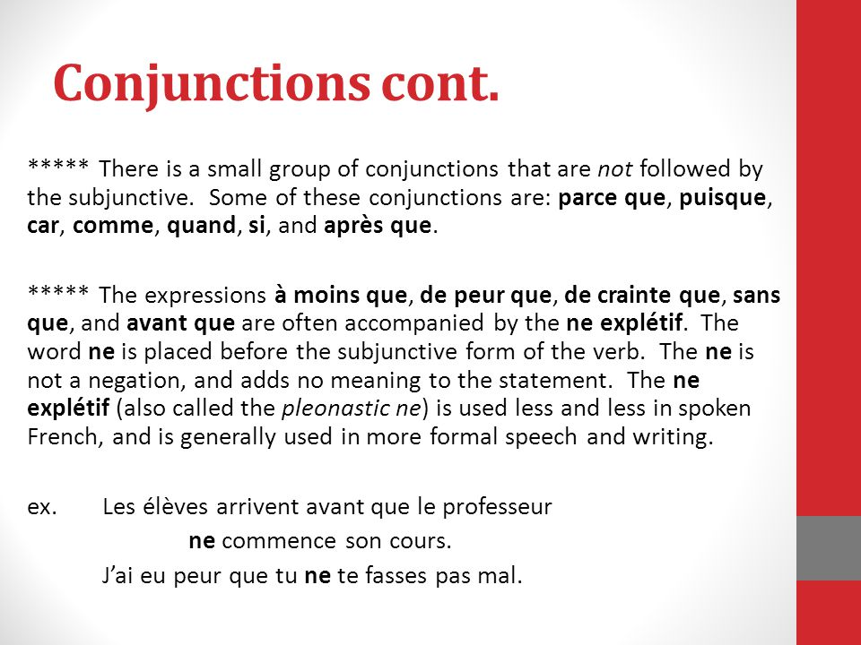 Conjunctions cont.