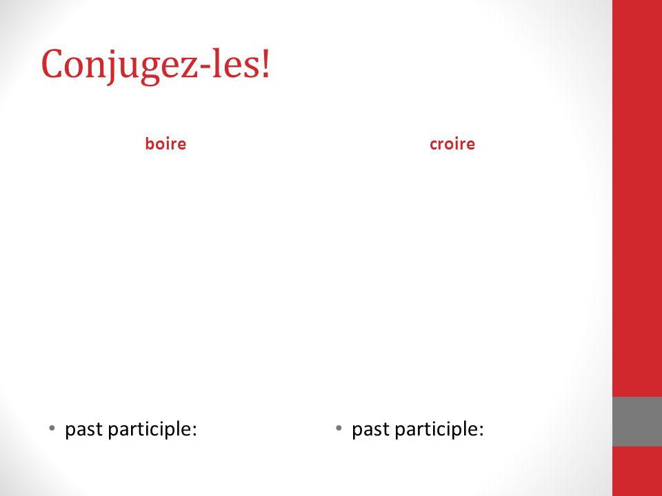 Conjugez-les! boire croire past participle: past participle: