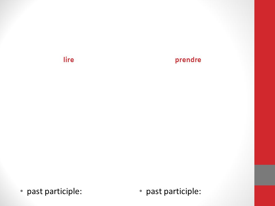 lire prendre past participle: past participle: