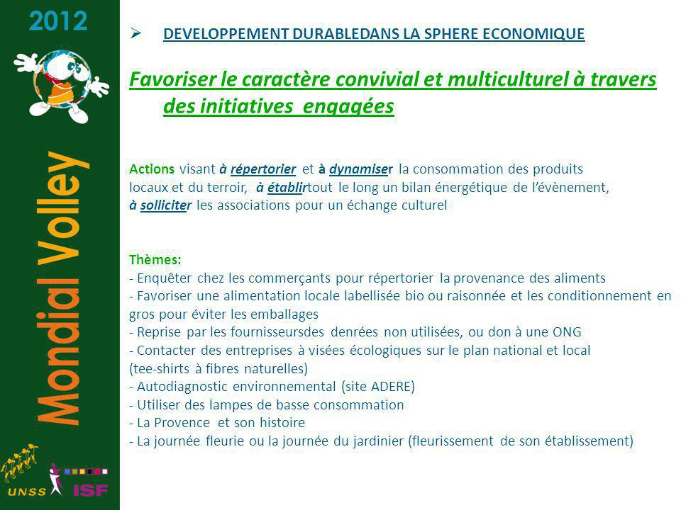 DEVELOPPEMENT DURABLEDANS LA SPHERE ECONOMIQUE