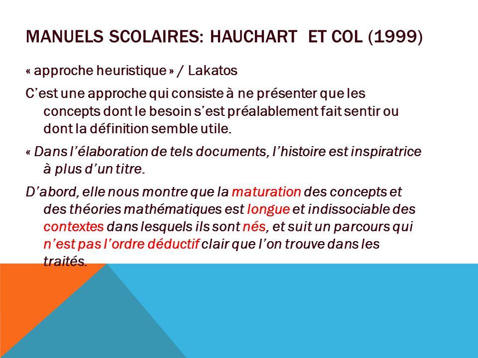 Manuels scolaires: Hauchart et col (1999)