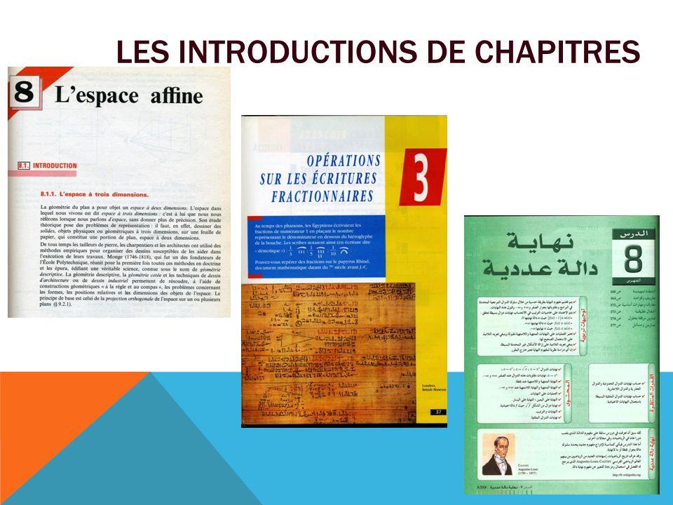 Les introductions de chapitres
