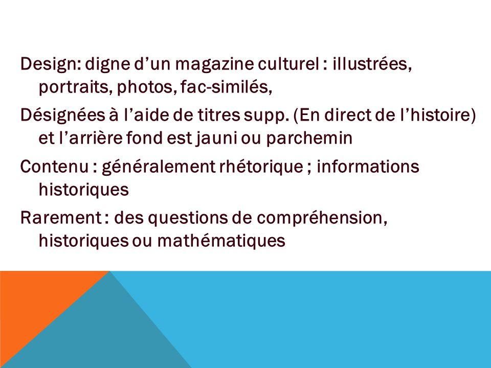 Design: digne d'un magazine culturel : illustrées, portraits, photos, fac-similés, Désignées à l'aide de titres supp.