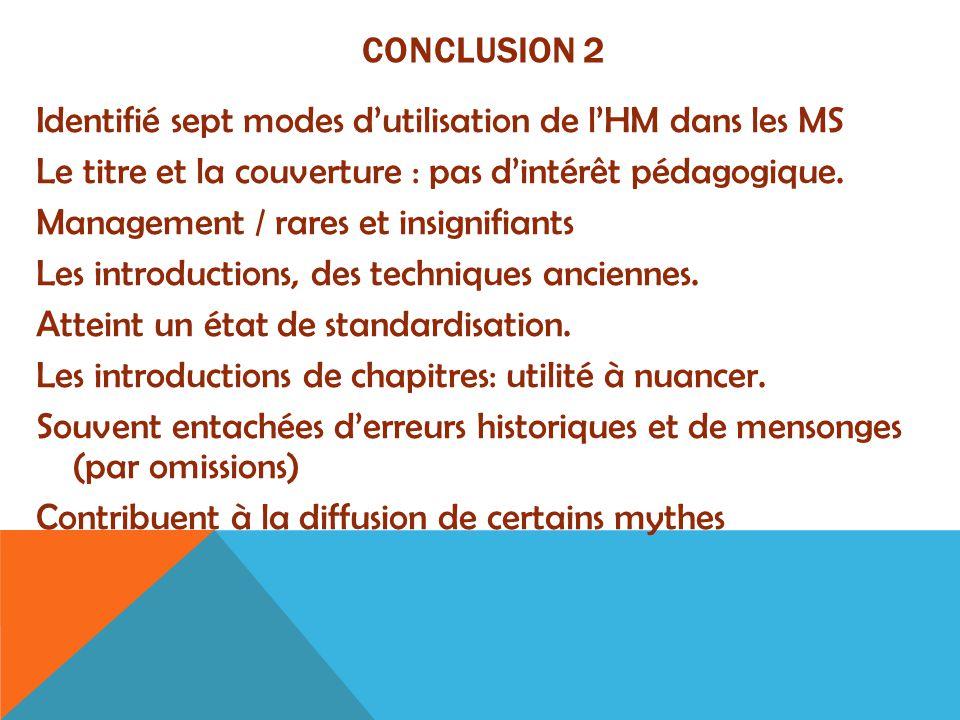 Conclusion 2 Identifié sept modes d'utilisation de l'HM dans les MS. Le titre et la couverture : pas d'intérêt pédagogique.