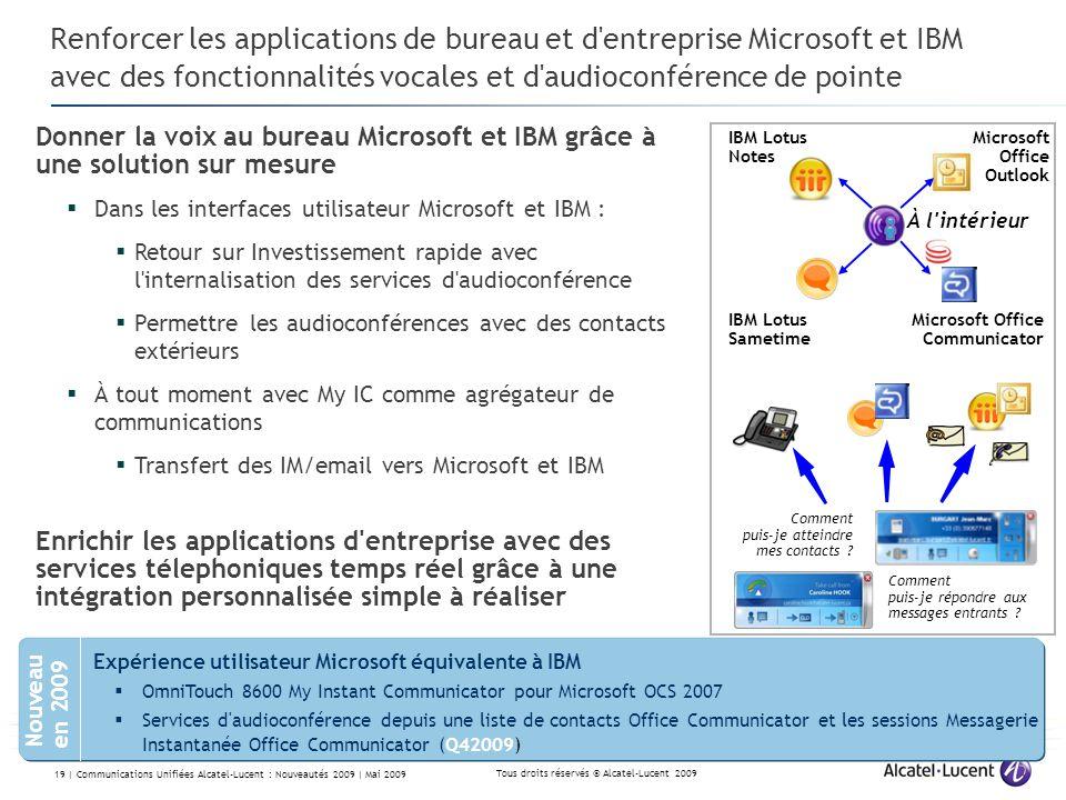 Renforcer les applications de bureau et d entreprise Microsoft et IBM avec des fonctionnalités vocales et d audioconférence de pointe