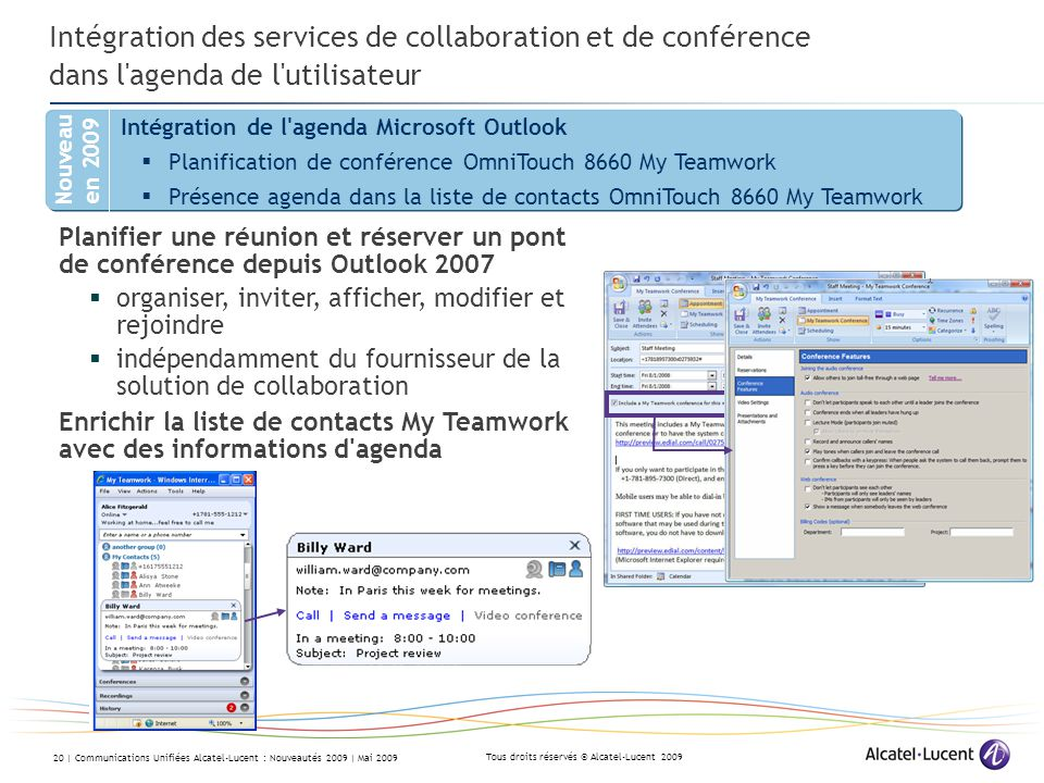 Intégration des services de collaboration et de conférence dans l agenda de l utilisateur