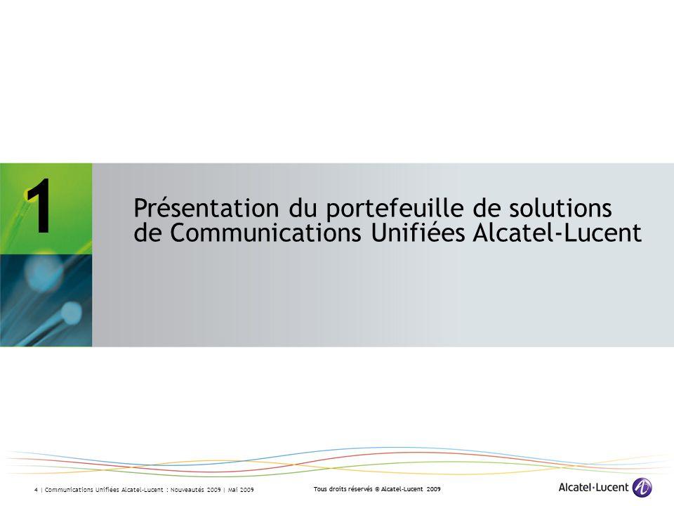 1 – Présentation du portefeuille de solutions de Communications Unifiées Alcatel-Lucent