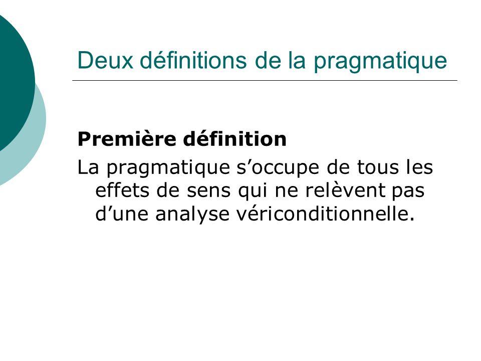Deux définitions de la pragmatique