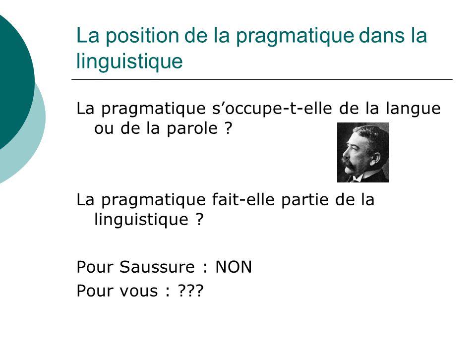 La position de la pragmatique dans la linguistique