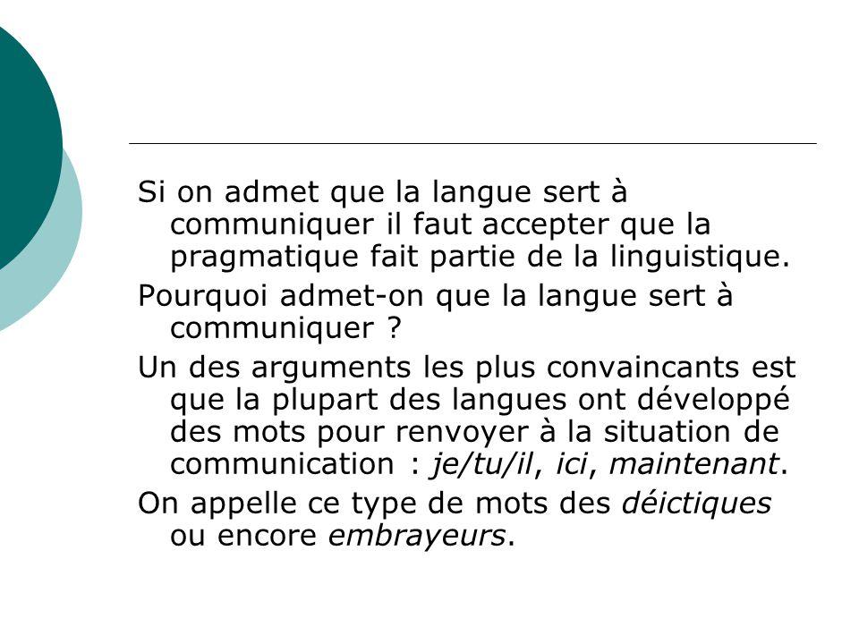 Si on admet que la langue sert à communiquer il faut accepter que la pragmatique fait partie de la linguistique.