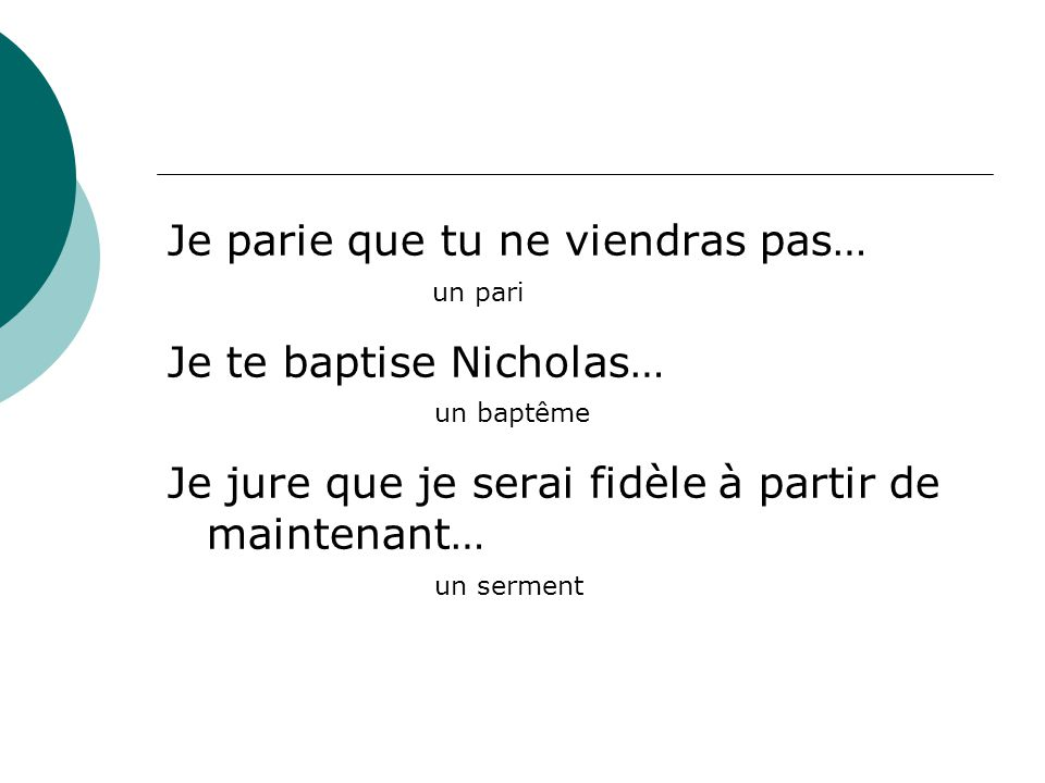 Je parie que tu ne viendras pas… Je te baptise Nicholas…