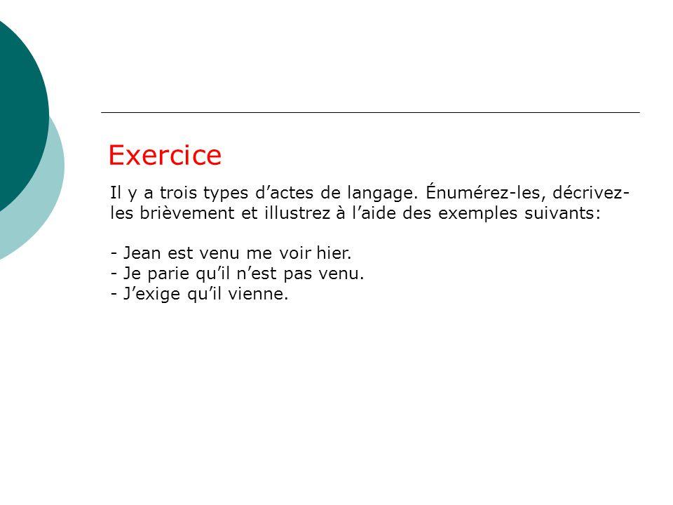 Exercice Il y a trois types d'actes de langage. Énumérez-les, décrivez-les brièvement et illustrez à l'aide des exemples suivants: