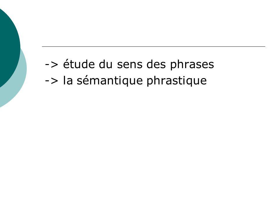 -> étude du sens des phrases