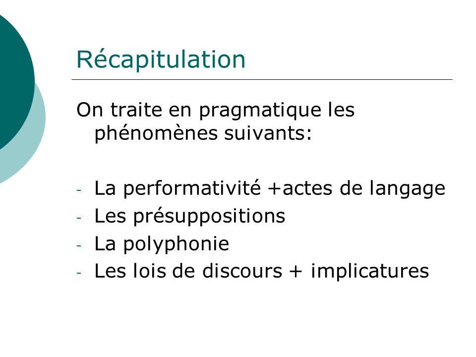 Récapitulation On traite en pragmatique les phénomènes suivants: