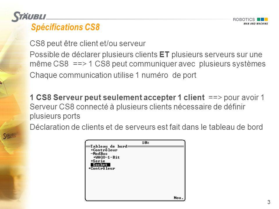 Spécifications CS8 CS8 peut être client et/ou serveur