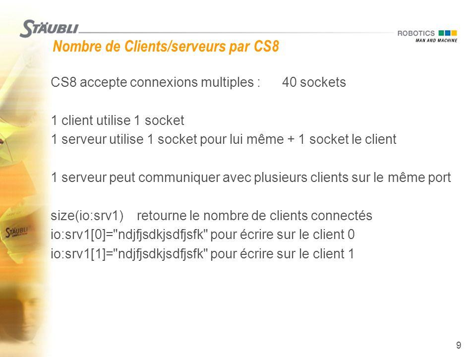 Nombre de Clients/serveurs par CS8