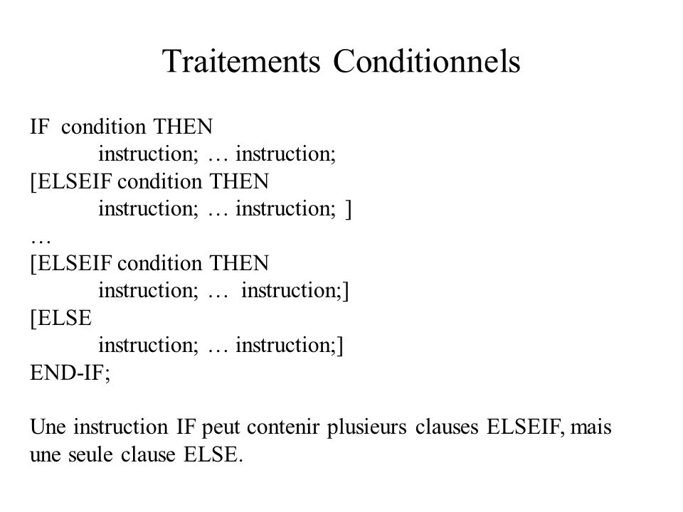 Traitements Conditionnels