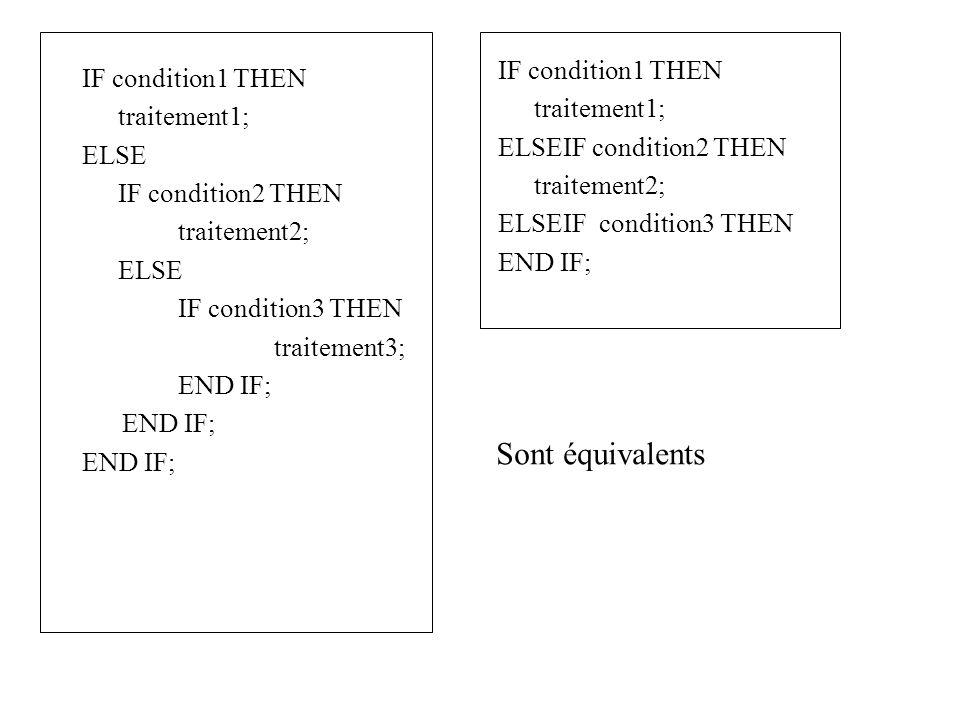 Sont équivalents IF condition1 THEN IF condition1 THEN traitement1;