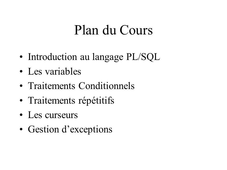 Plan du Cours Introduction au langage PL/SQL Les variables