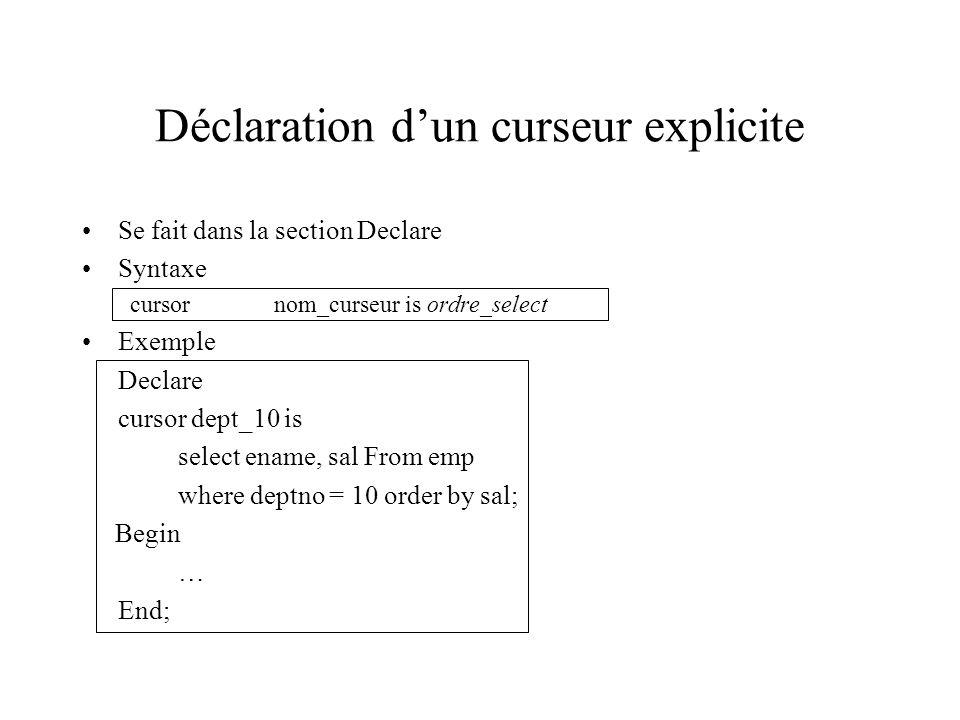 Déclaration d'un curseur explicite