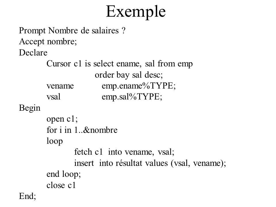 Exemple Prompt Nombre de salaires Accept nombre; Declare