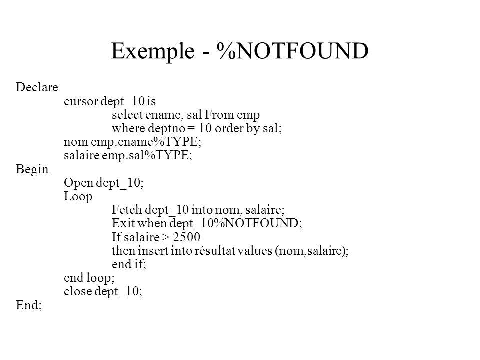 Exemple - %NOTFOUND Declare cursor dept_10 is