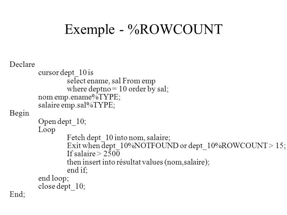 Exemple - %ROWCOUNT Declare cursor dept_10 is