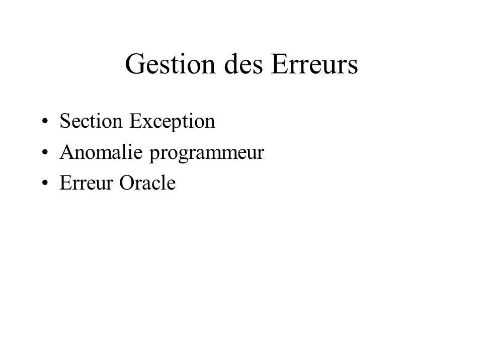 Gestion des Erreurs Section Exception Anomalie programmeur