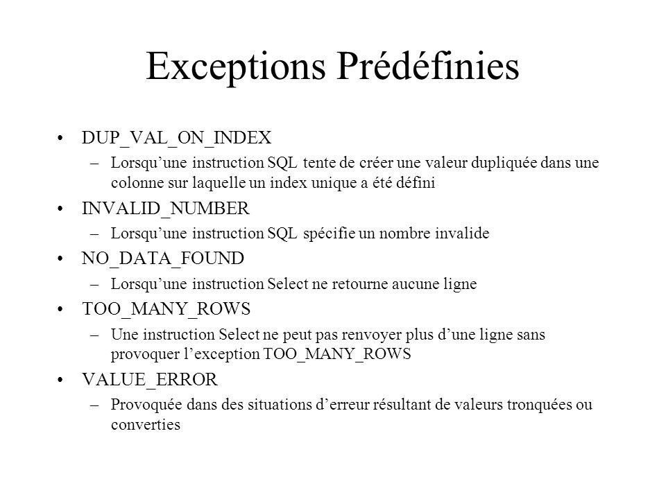 Exceptions Prédéfinies