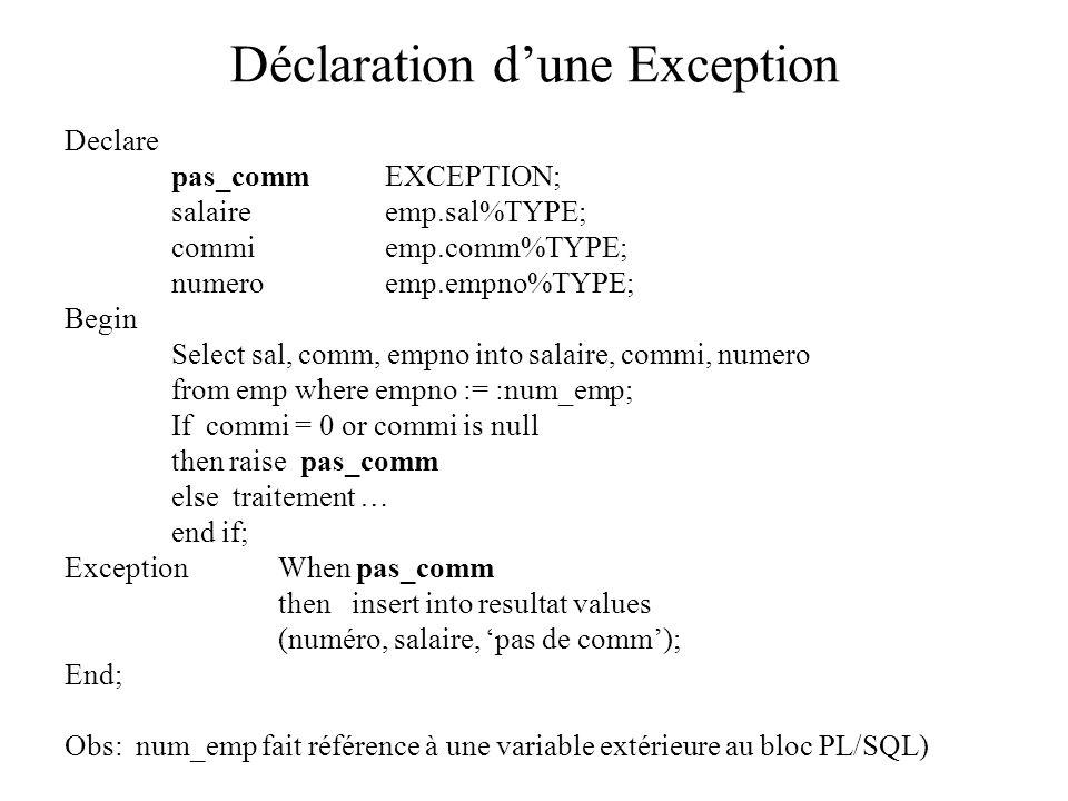 Déclaration d'une Exception