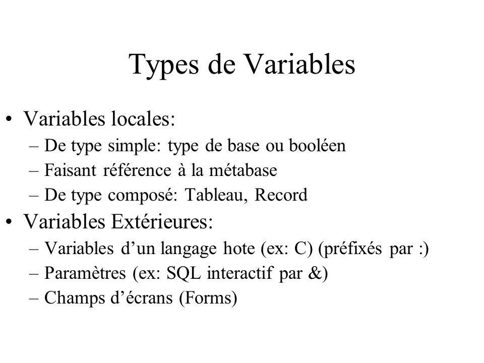 Types de Variables Variables locales: Variables Extérieures: