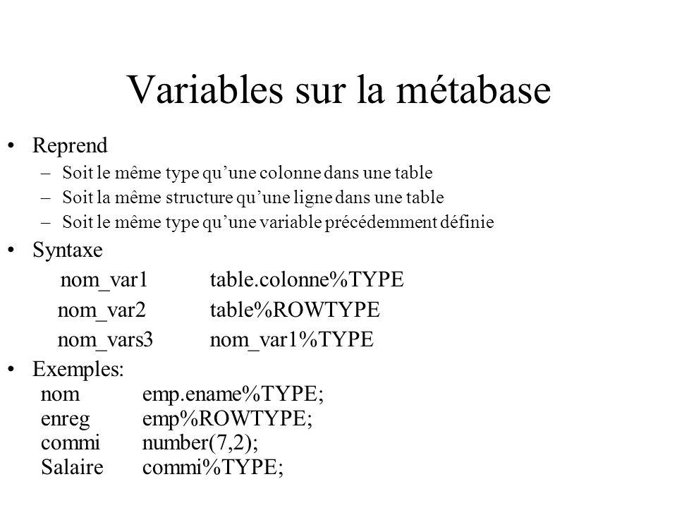 Variables sur la métabase
