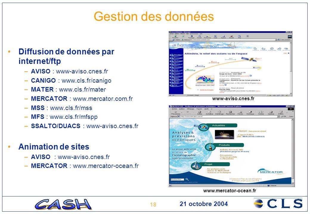 Gestion des données Diffusion de données par internet/ftp