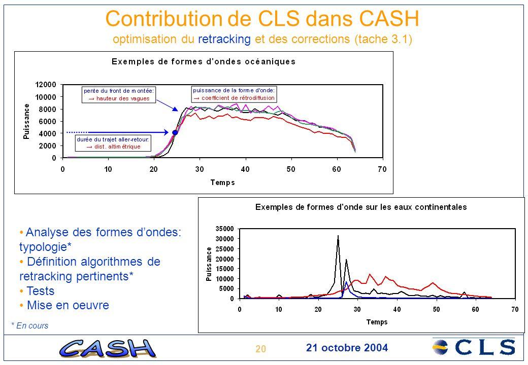 Contribution de CLS dans CASH optimisation du retracking et des corrections (tache 3.1)