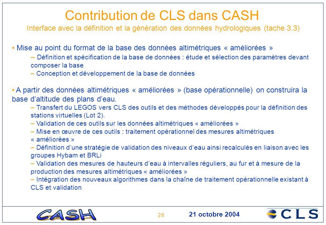 Contribution de CLS dans CASH Interface avec la définition et la génération des données hydrologiques (tache 3.3)
