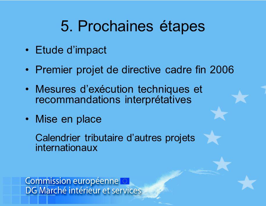 5. Prochaines étapes Etude d'impact