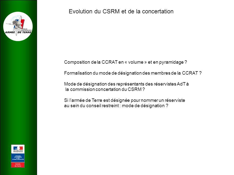 Evolution du CSRM et de la concertation