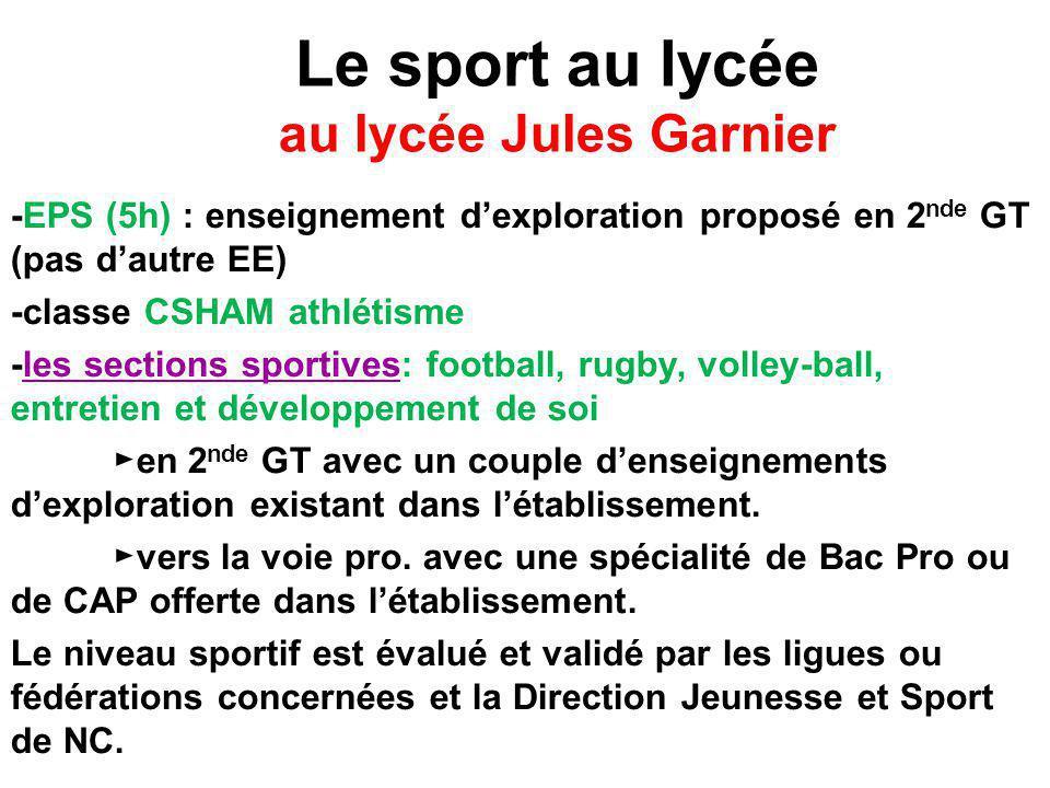 Le sport au lycée au lycée Jules Garnier
