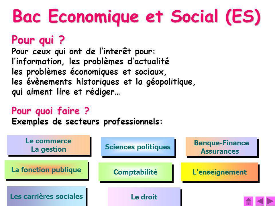 Bac Economique et Social (ES) Les carrières sociales