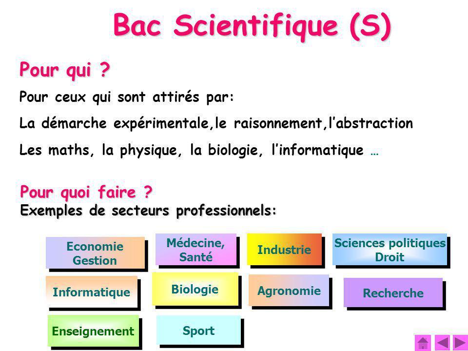 Bac Scientifique (S) Pour qui Pour quoi faire
