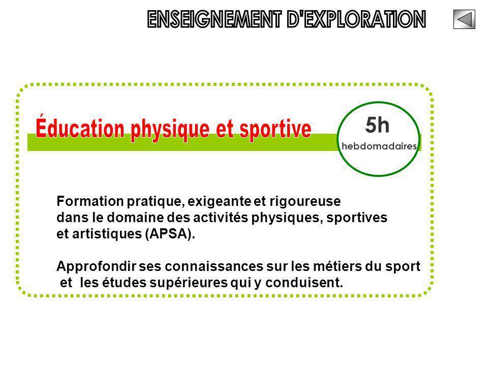 ENSEIGNEMENT D EXPLORATION Éducation physique et sportive