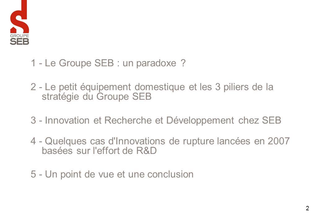 1 - Le Groupe SEB : un paradoxe